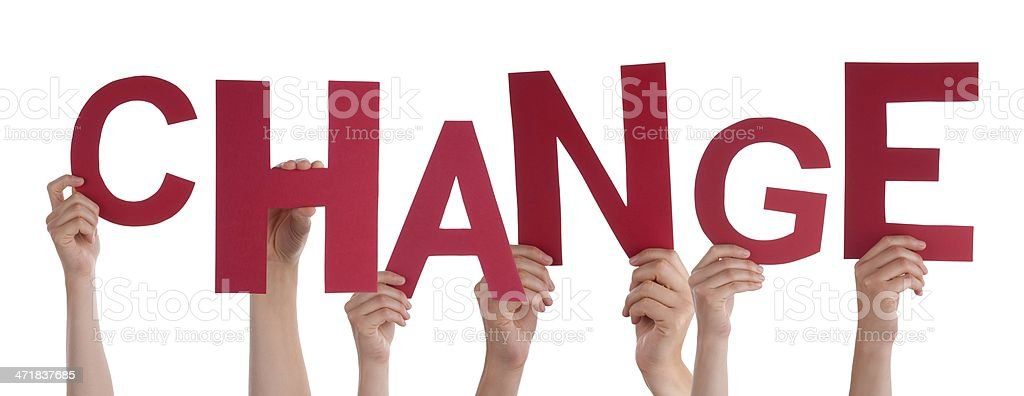 Hands Holding Change stock photo