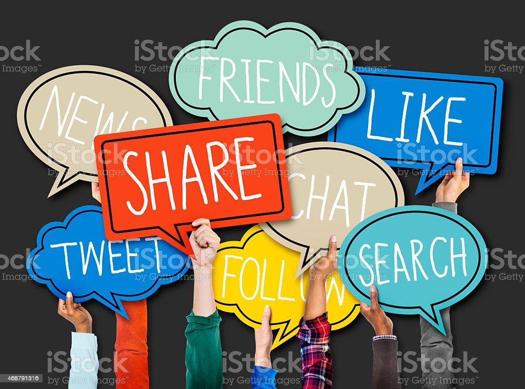 Hands Holding Colorful Speech Bubbles Social Media Concept stock photo