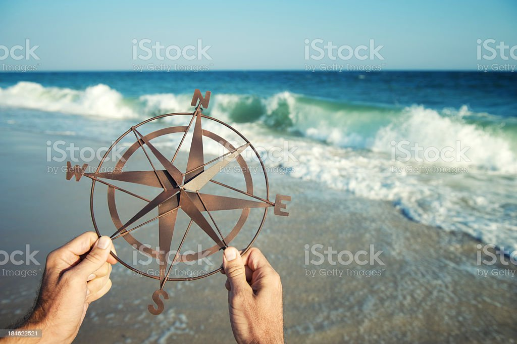 Hands Holding Compass by Sea with Crashing Waves stock photo