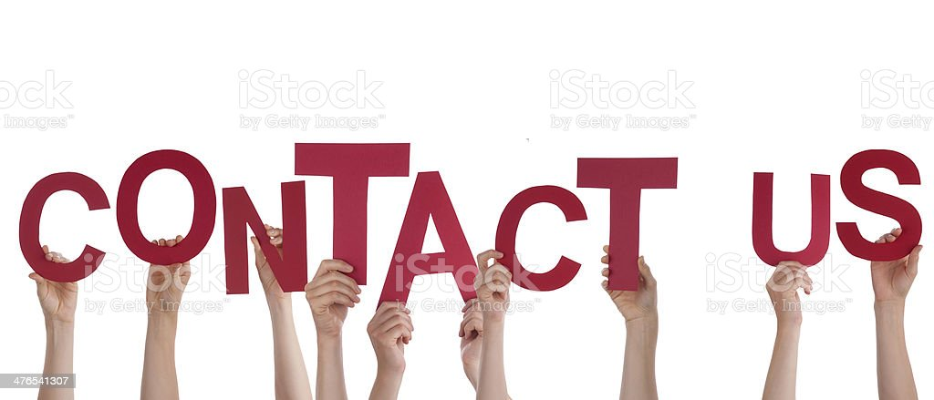 Hands Holding Contact Us royalty-free stock photo