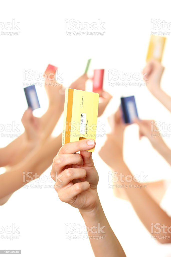 Hands holding credit card stock photo
