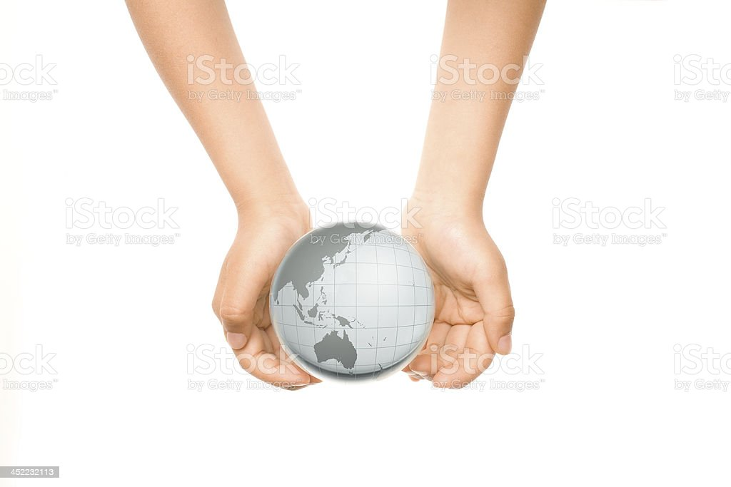 Hands Holding Crystal Globe royalty-free stock photo