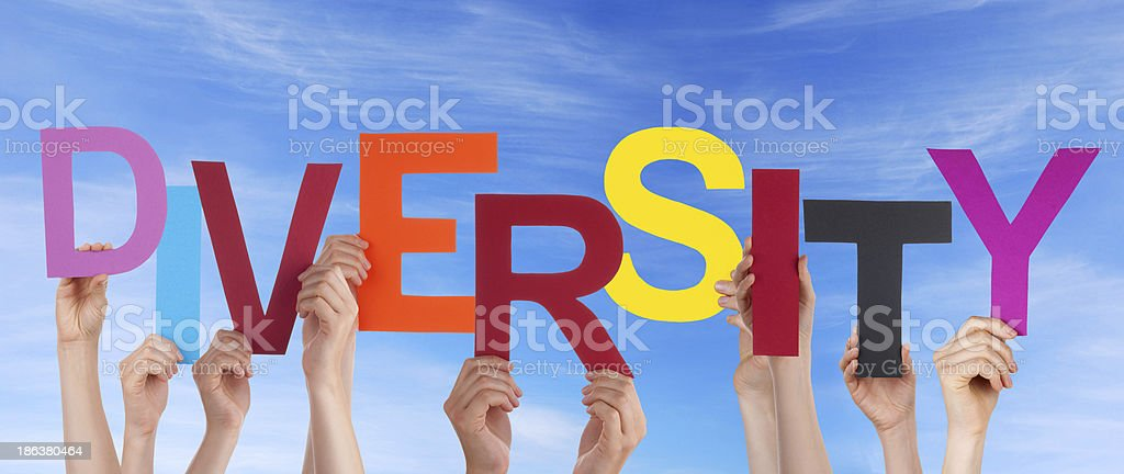 Hands Holding Diversity in the Sky royalty-free stock photo
