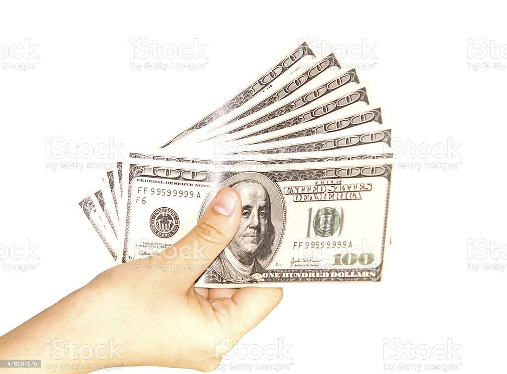Hands holding dollars isolated on white background stock photo