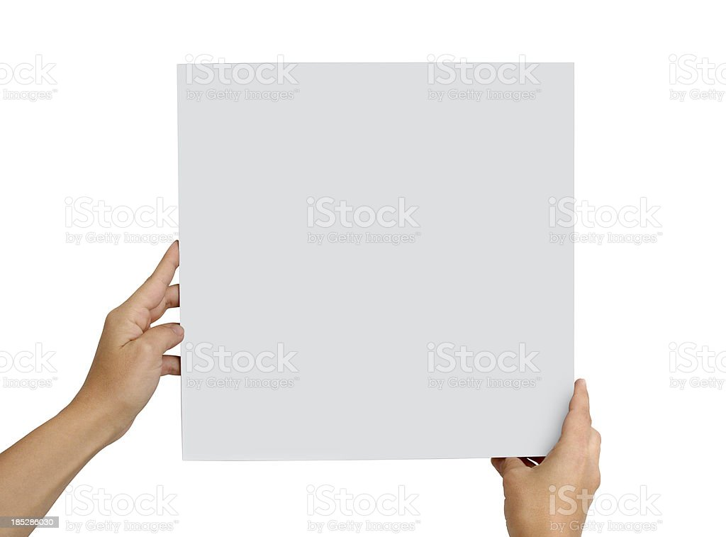 Hands Holding Empty Board (Click for more) stock photo