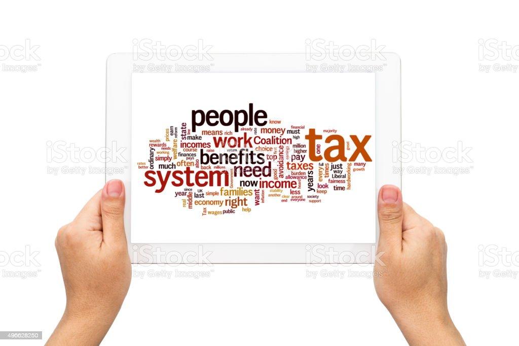 Hands holding Follow as Inheritance tax concept stock photo