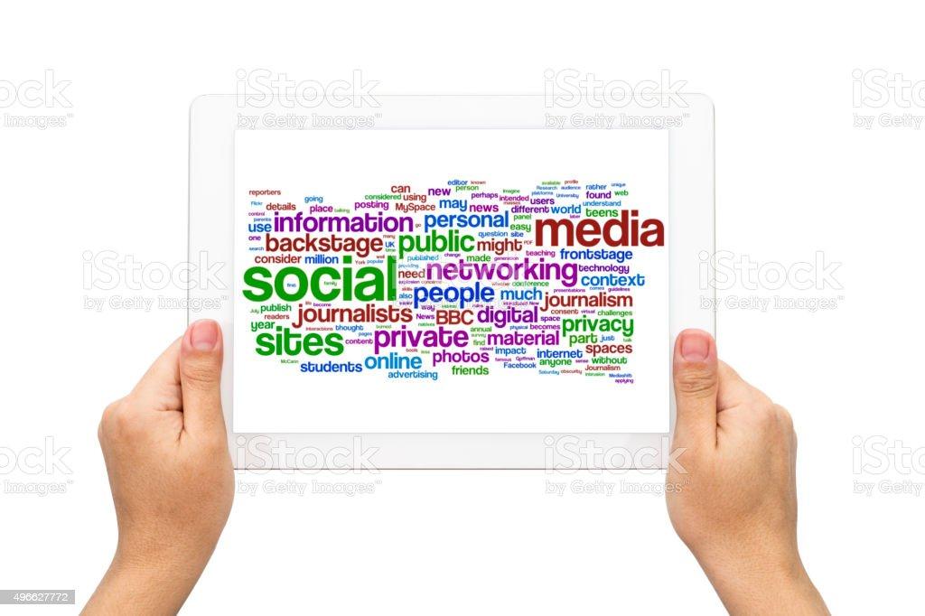Hands holding Follow as social media concept stock photo