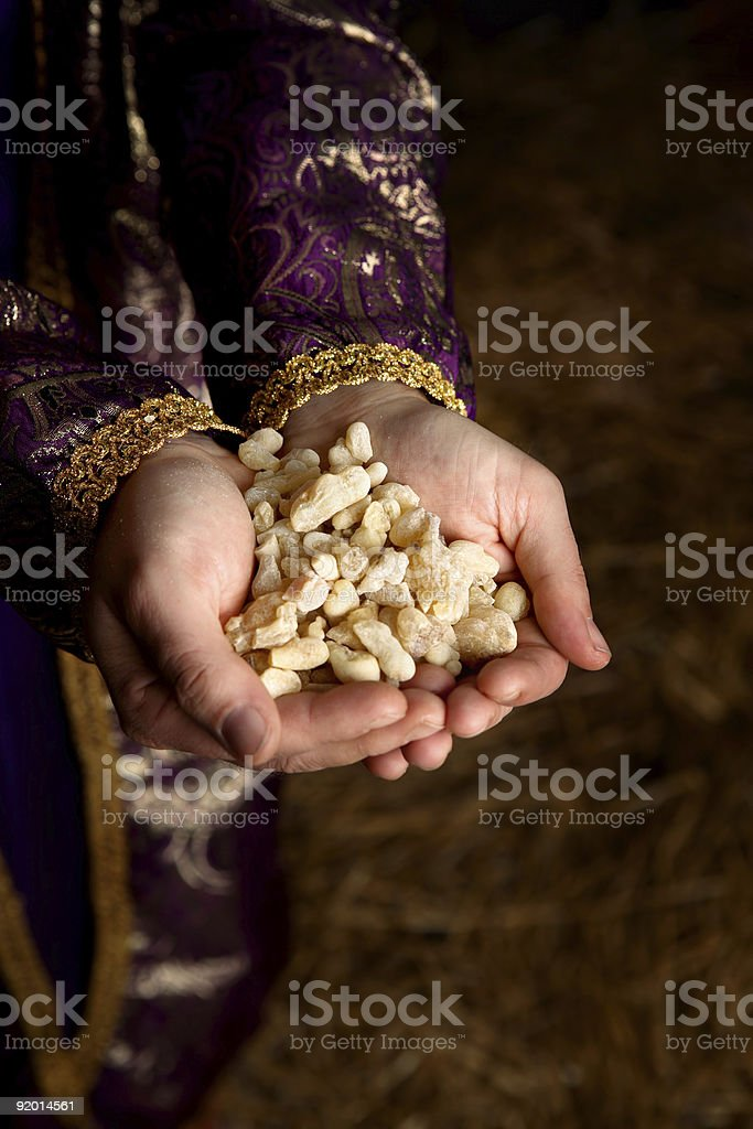 Hands holding Frankincense stock photo