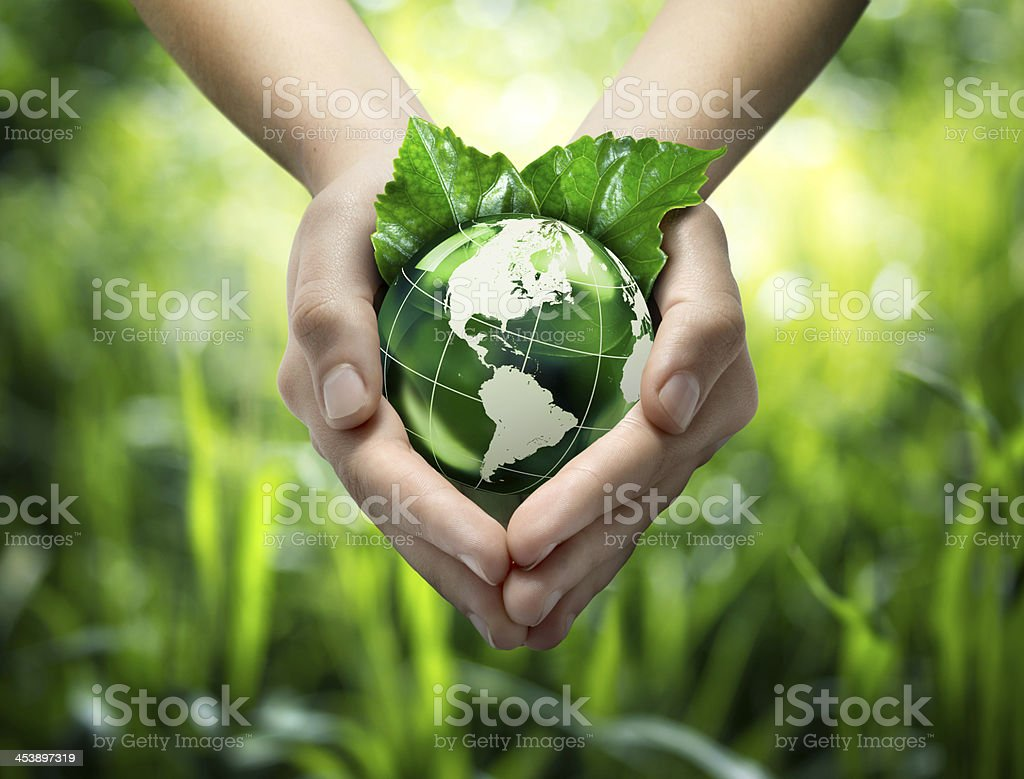 Hands holding green globe with grassy background stock photo