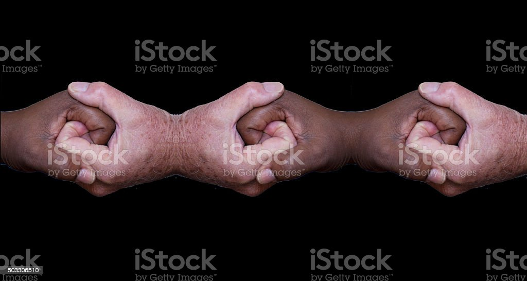 Hands holding hands stock photo