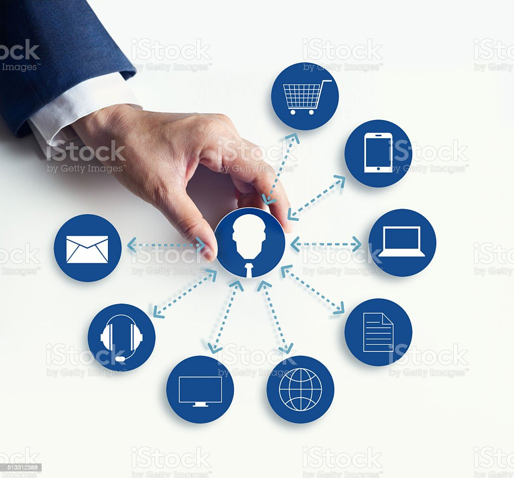 Hands holding icon customer network connection, Omni Channel stock photo