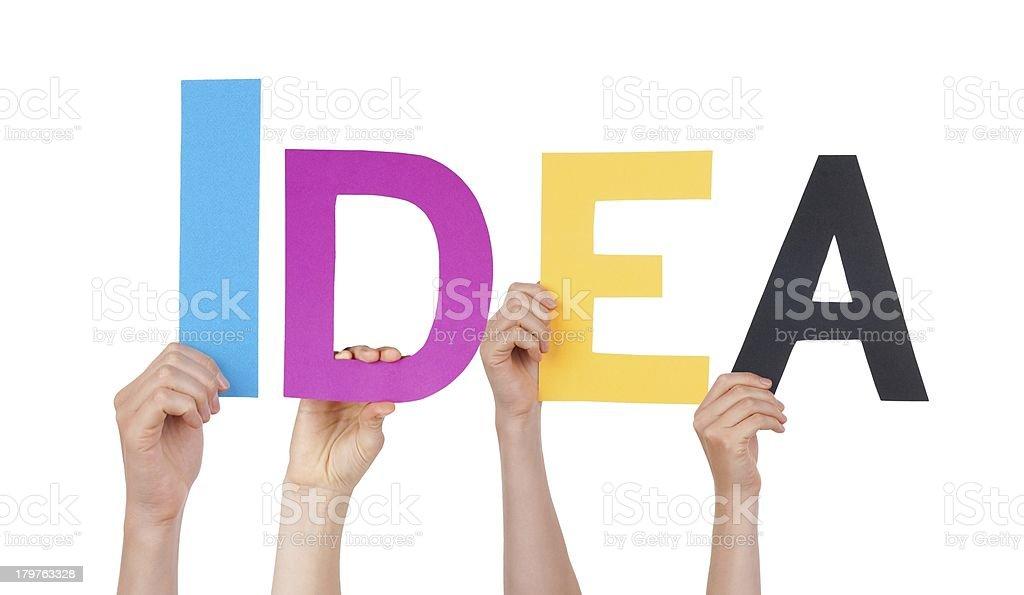 Hands Holding Idea stock photo