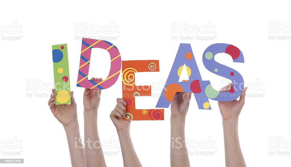 Hands Holding IDEAS stock photo