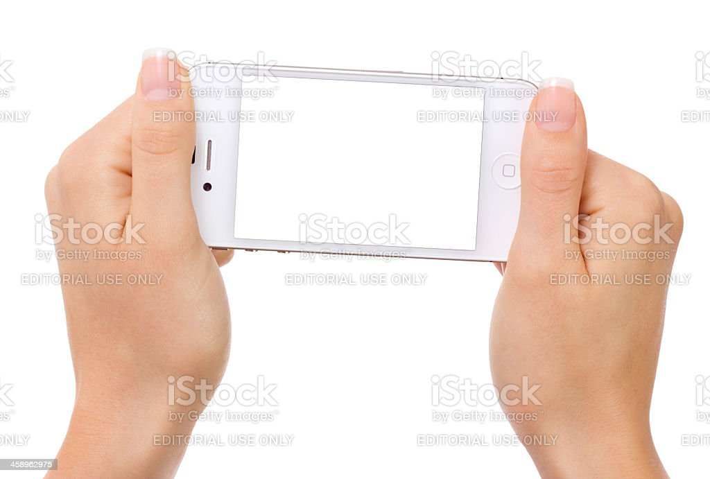 hands holding iphone with white screen, isolated stock photo
