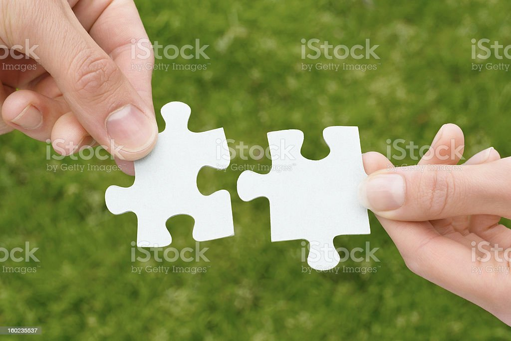 Hands Holding Jigsaw Pieces royalty-free stock photo
