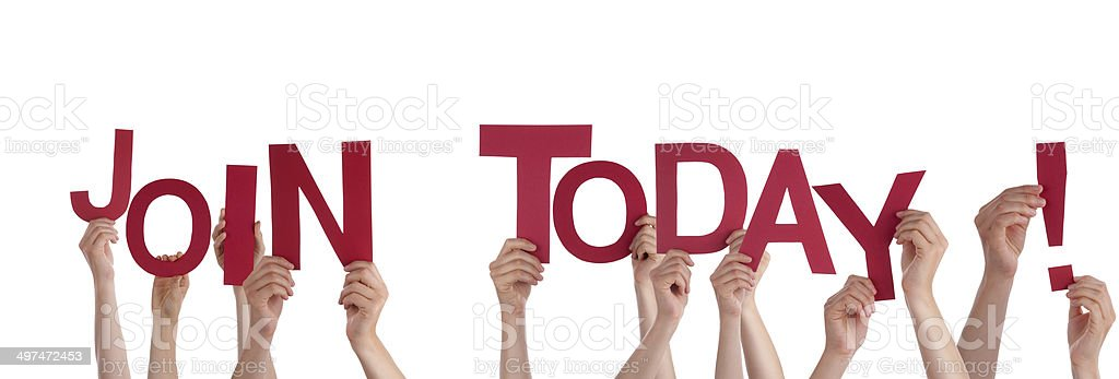 Hands Holding Join Today stock photo