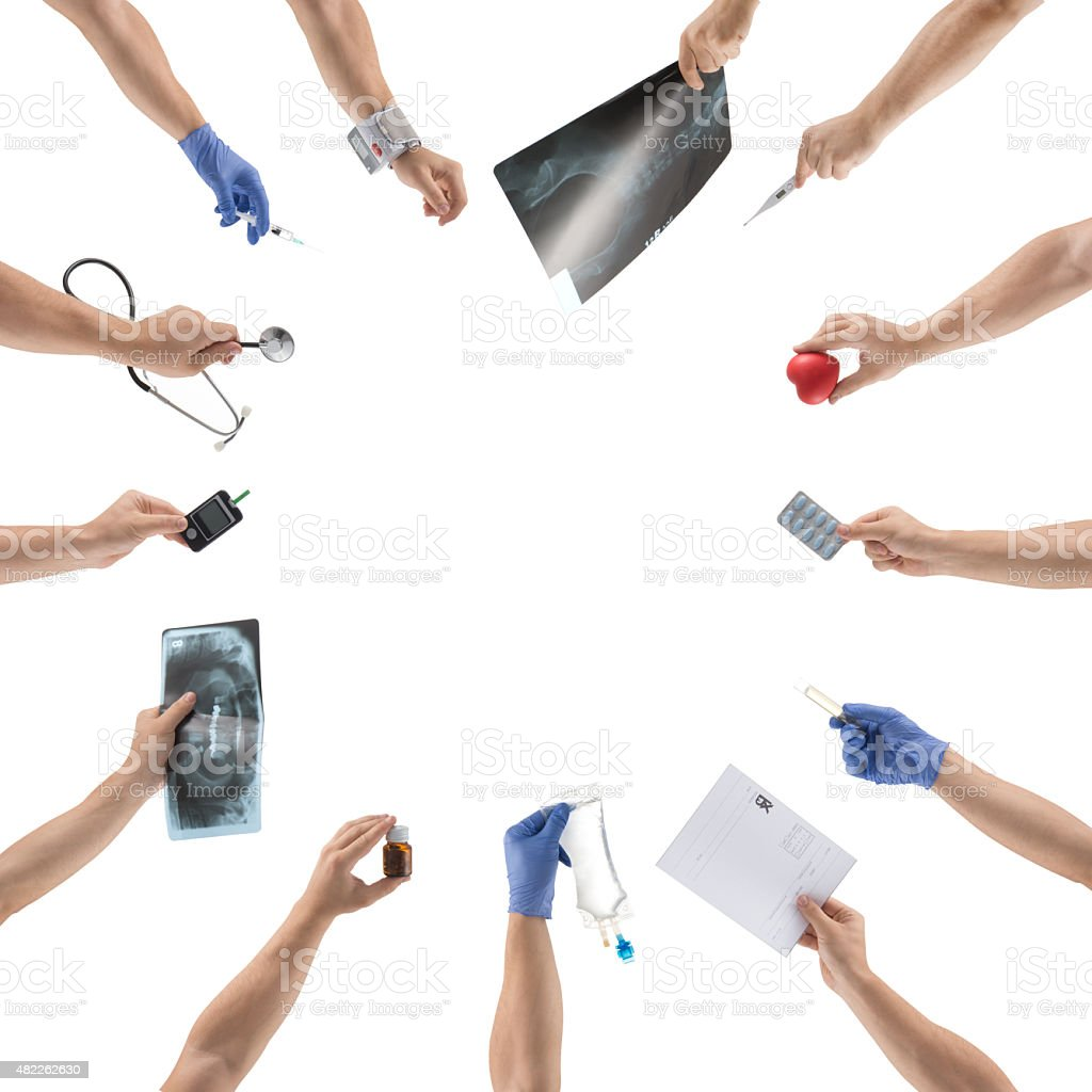 hands holding Medical equipments stock photo