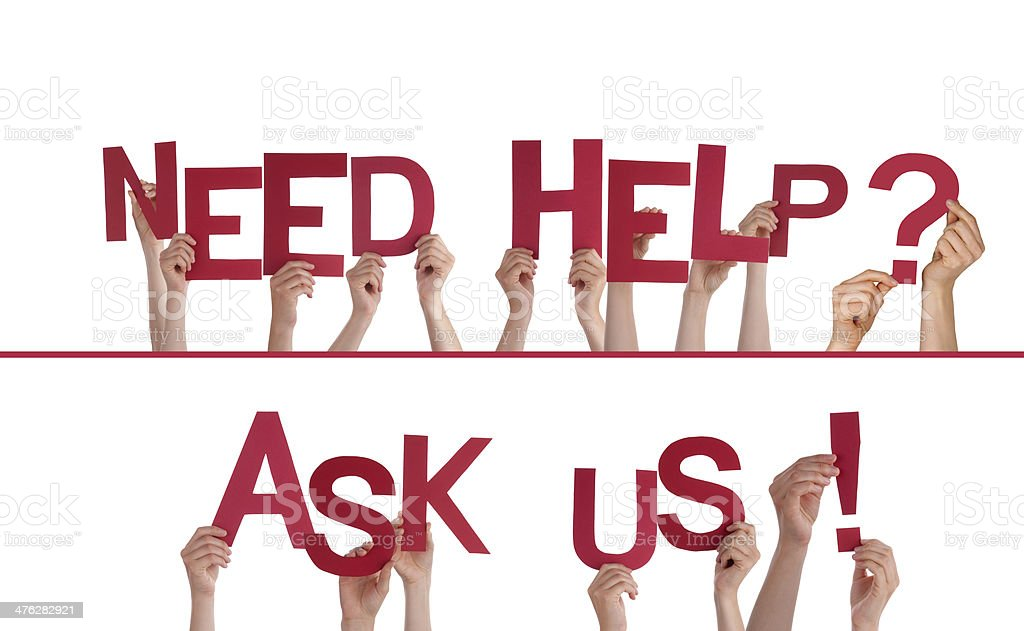 Hands Holding Need Help, Ask Us royalty-free stock photo