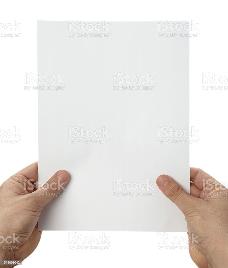 hands holding notebook office blank  paper stock photo