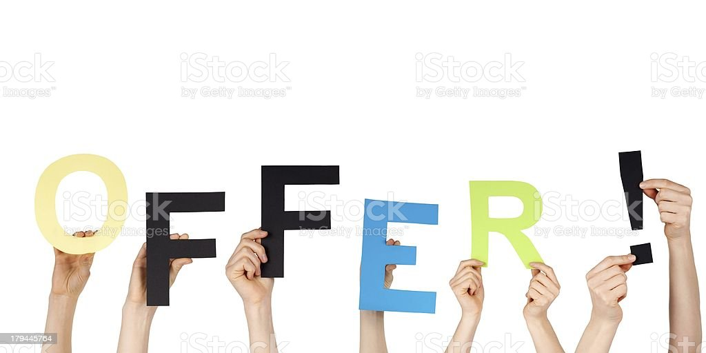 hands holding offer stock photo