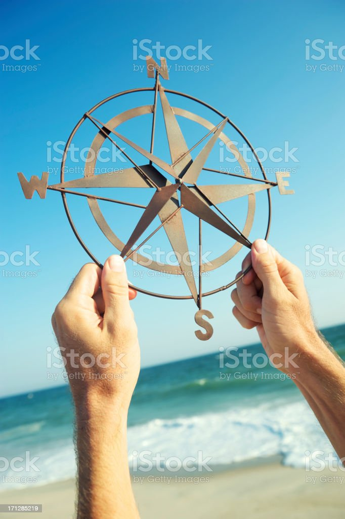 Hands Holding Old-Fashioned Compass Blue Sky Beach royalty-free stock photo