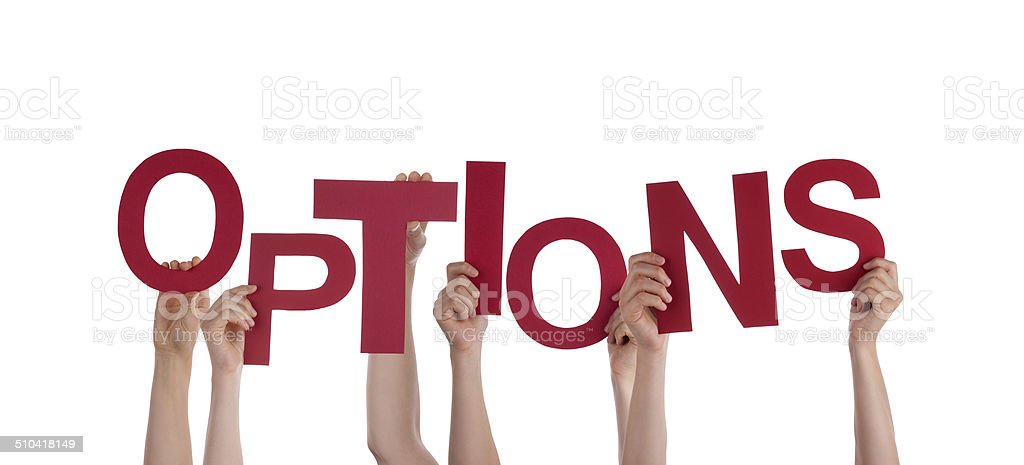 Hands Holding Options stock photo