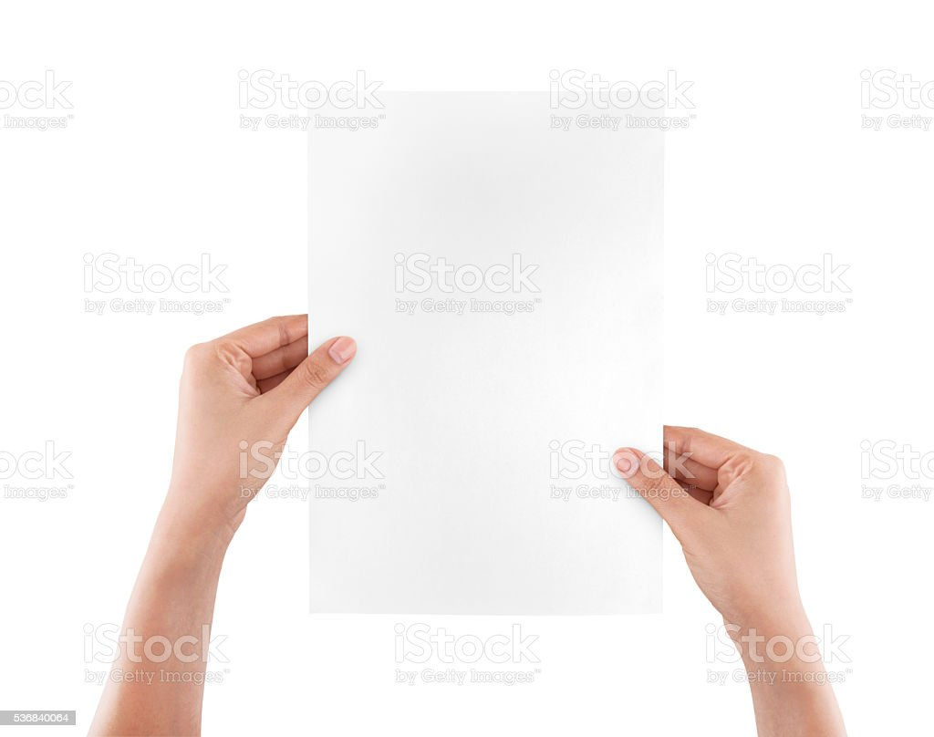 Hands holding paper isolated on white stock photo