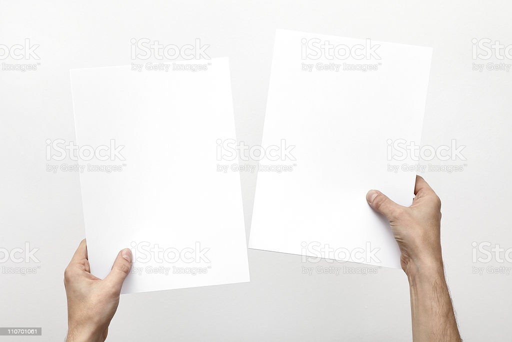 Hands holding paper royalty-free stock photo