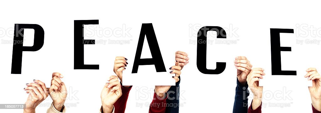 Hands Holding Peace Sign royalty-free stock photo