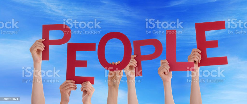 Hands Holding People in the Sky stock photo