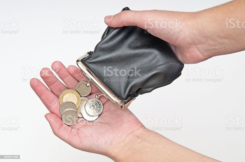 Hands holding purse and few coins royalty-free stock photo