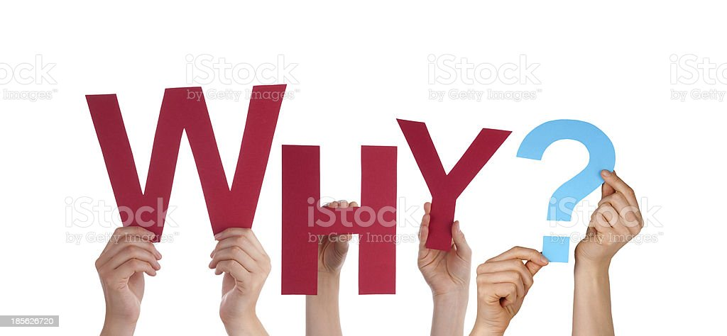 Hands Holding Red Why stock photo