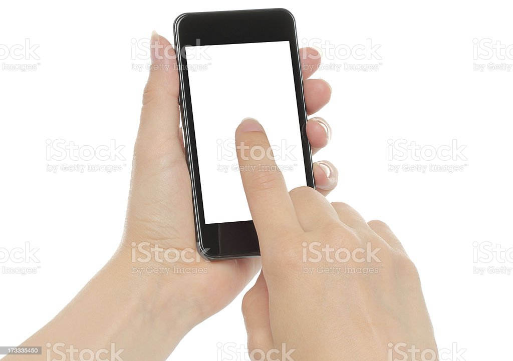 Hands holding smart phone royalty-free stock photo