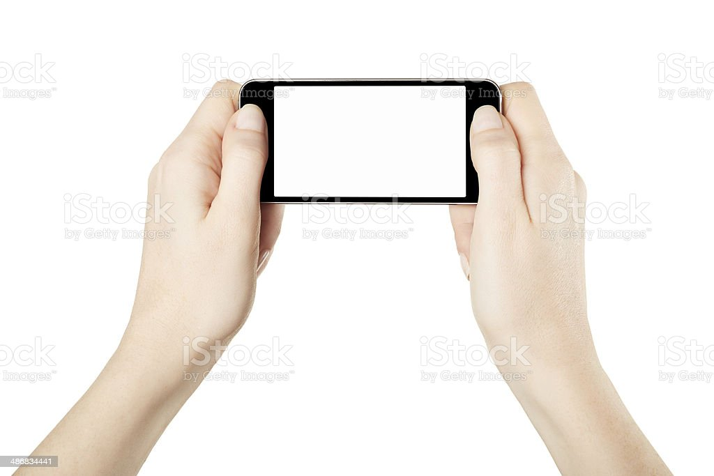 Hands holding smartphone device gaming stock photo