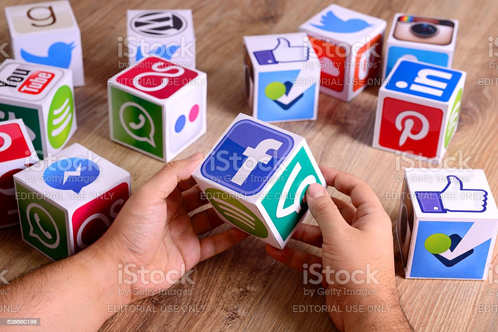 Hands holding social media cubes stock photo