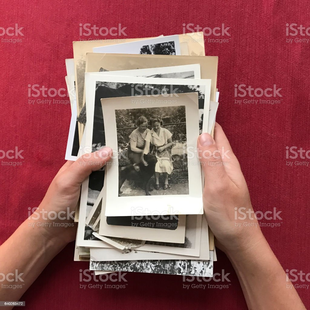 Hands Holding Stack of Old Photographs stock photo