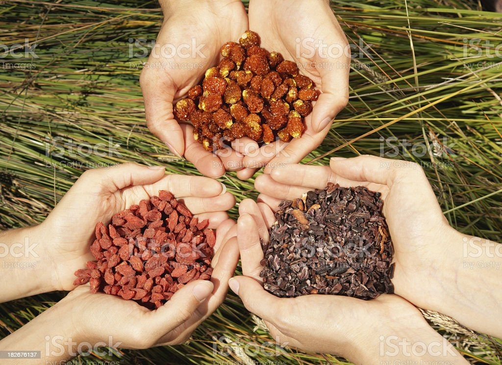 Hands Holding Super-Foods stock photo