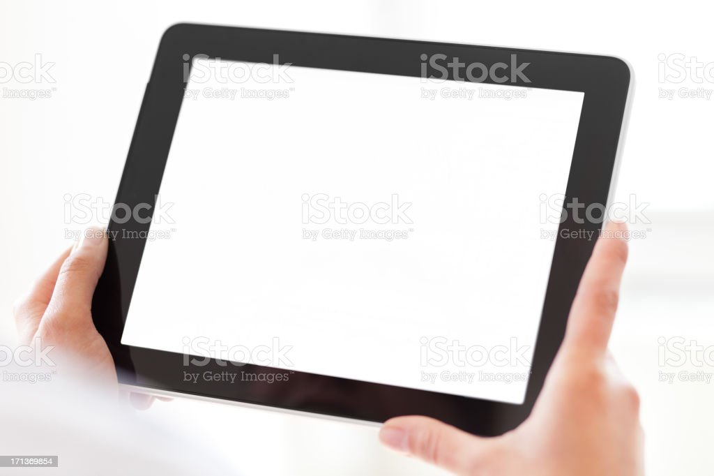 Hands Holding Tablet PC with Blank Screen stock photo