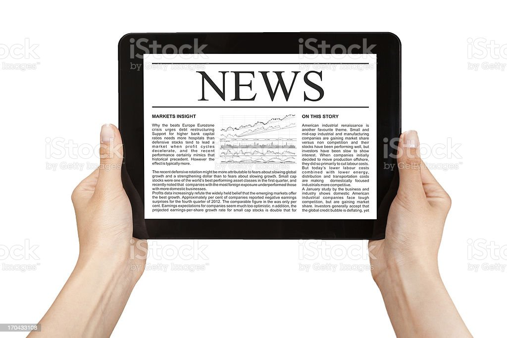 Hands holding tablet with news. royalty-free stock photo
