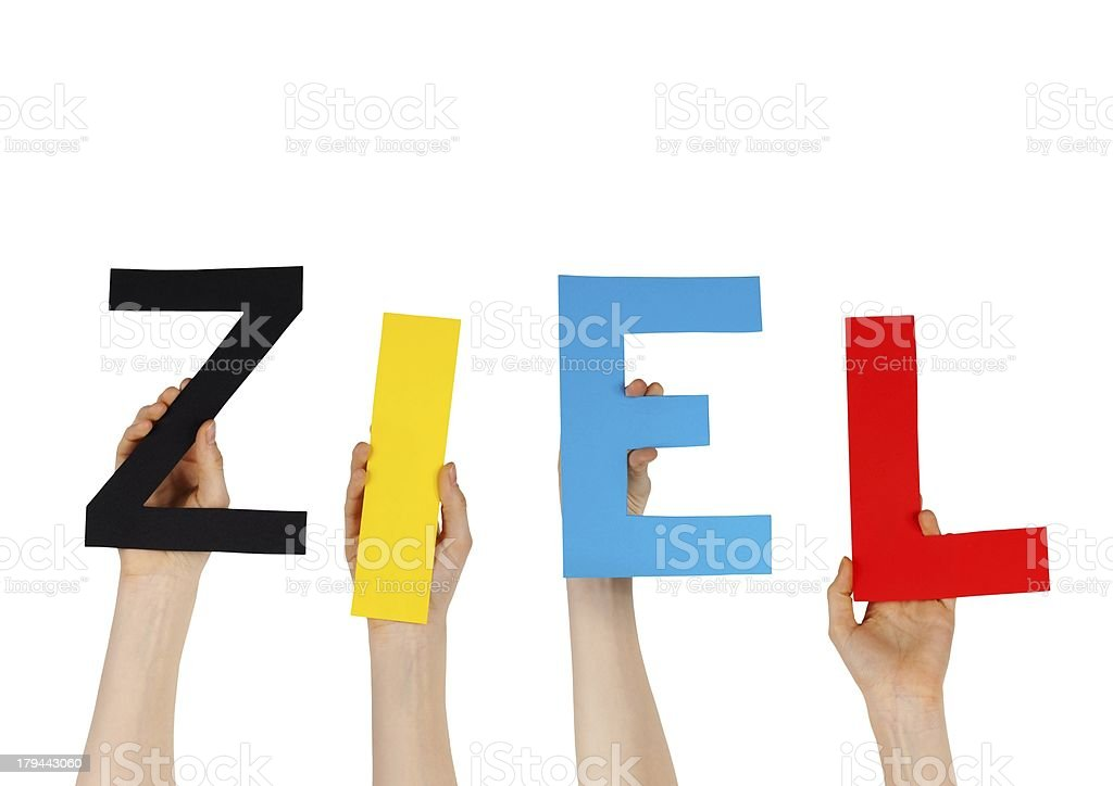 hands holding the german word ZIEL royalty-free stock photo