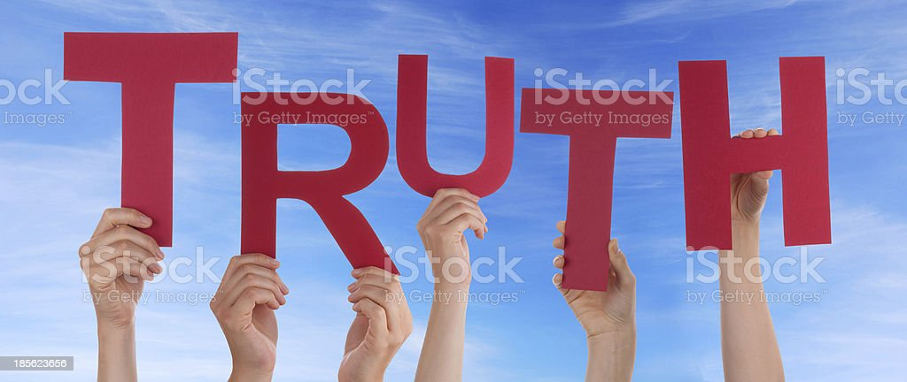 Hands Holding Truth in the Sky royalty-free stock photo