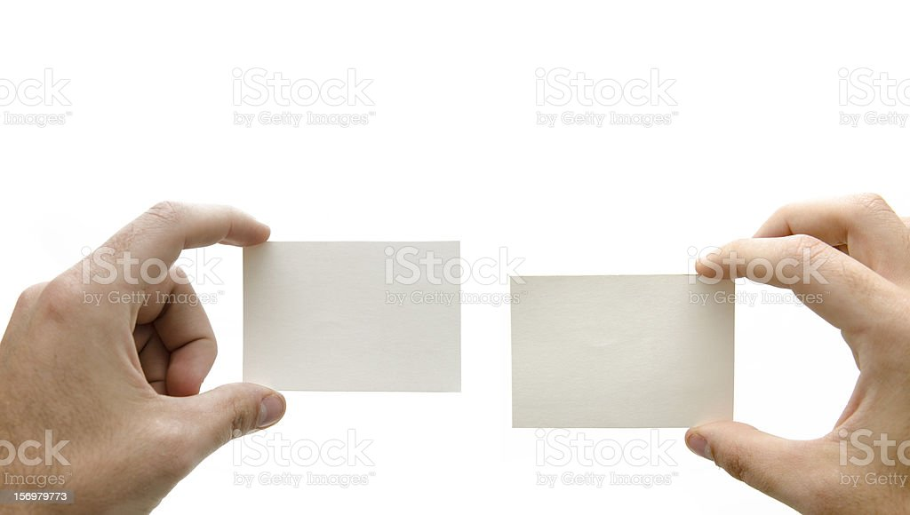 Hands holding two business white card royalty-free stock photo