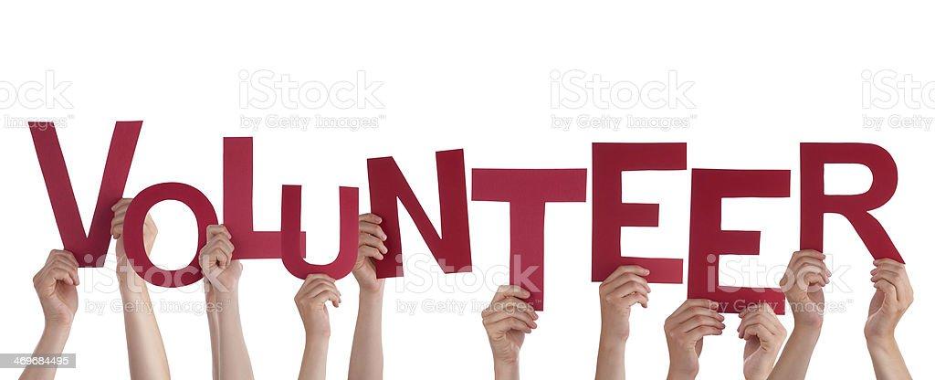 Hands Holding Volunteer stock photo