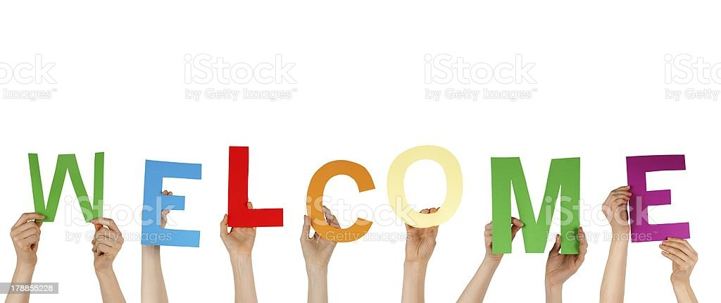 hands holding WELCOME royalty-free stock photo