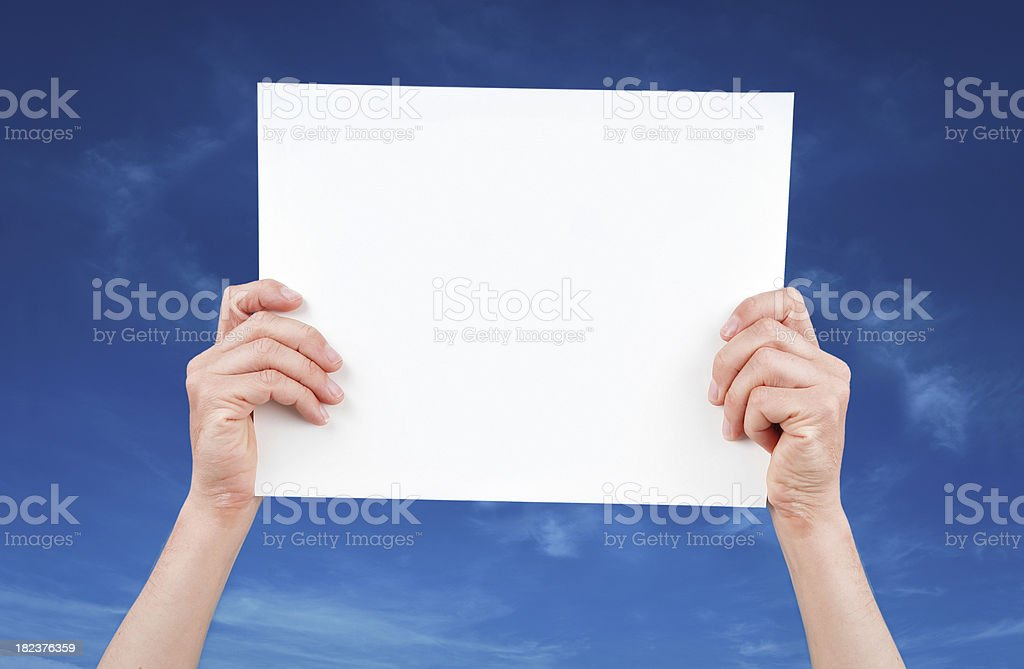 Hands Holding White Board royalty-free stock photo