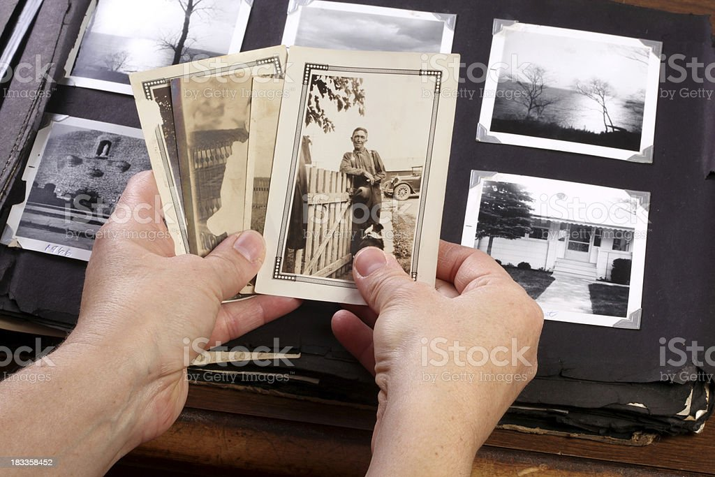 Hands Holing Vintage Memories stock photo