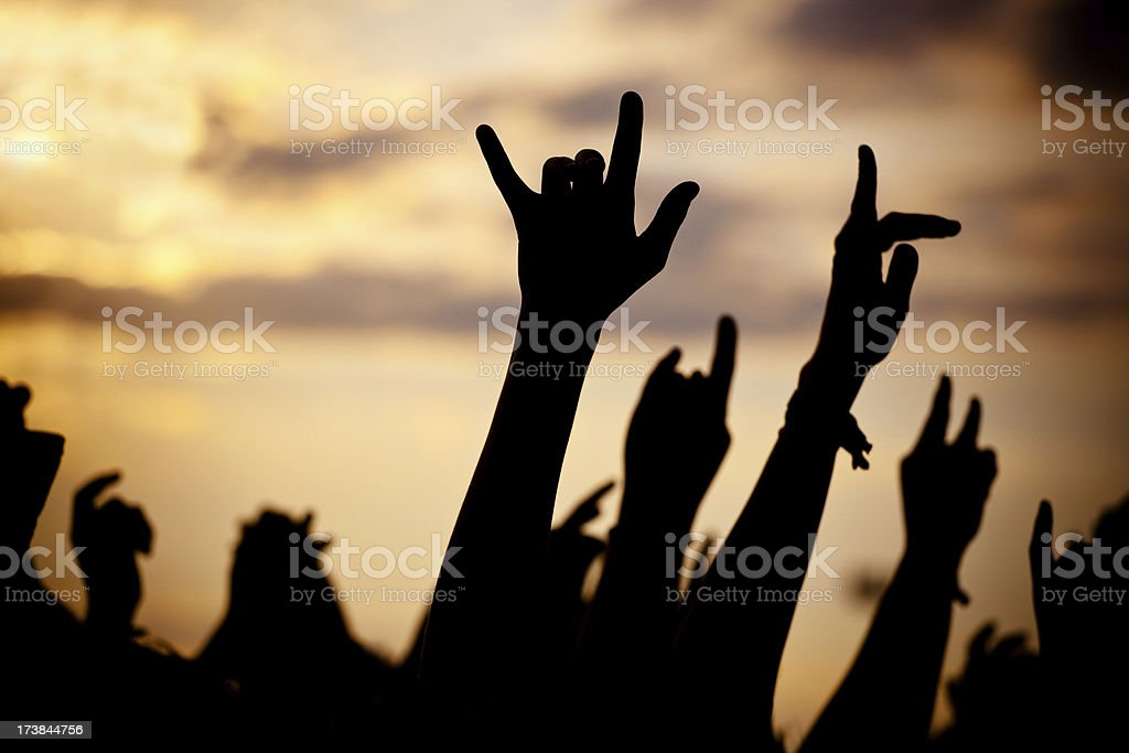 hands in a rock concert royalty-free stock photo