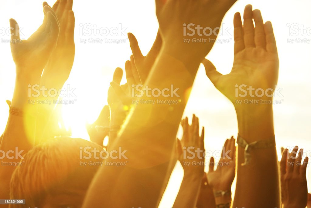 hands in a rock concert stock photo