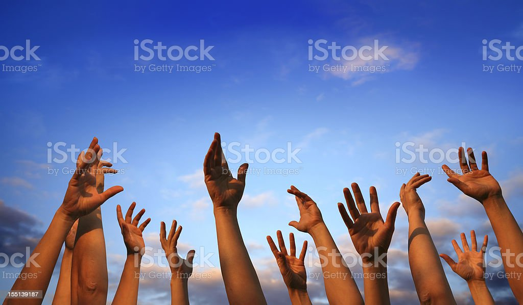 hands in air stock photo