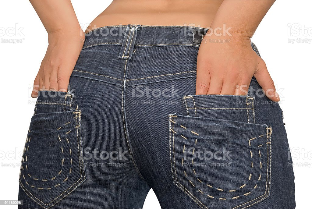 Hands in blue jeans pocket royalty-free stock photo